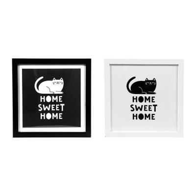 Cadres Chat Noir & Blanc Déco Home Sweet Home